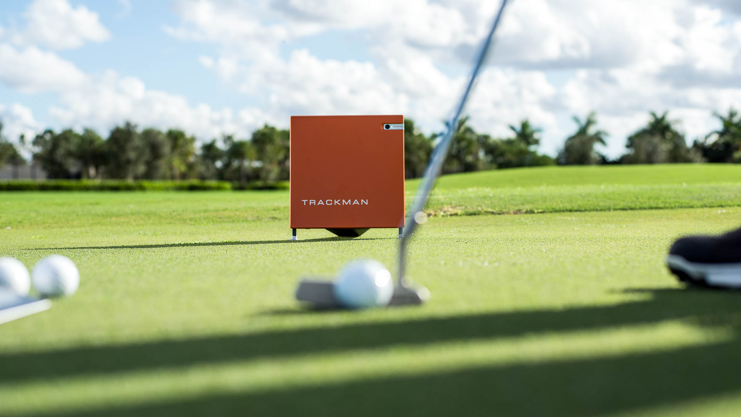 Trackman technology monitors a golf putt